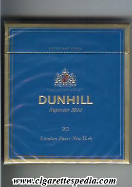 dunhill english version international superior mild l 20 b blue england