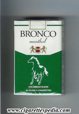 bronco colombian version colombian blend menthol ks 20 s colombia