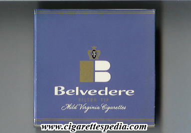 belvedere canadian version old design filter tip mild virginia cigarettes s 20 b canada