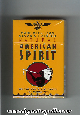 natural american spirit made with 100 organic tobacco light mellow taste ks 20 h orange usa