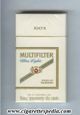 multifilter philip morris pm in the middle with diagonal line ultra lights l 20 h italy usa