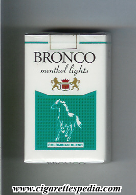 bronco colombian version colombian blend menthol lights ks 20 s colombia