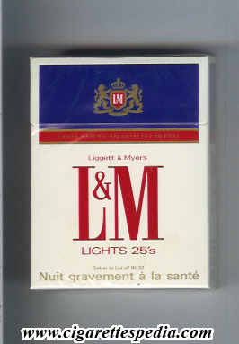 l m liggett myers light american quality blend lights ks 25 h france holland usa